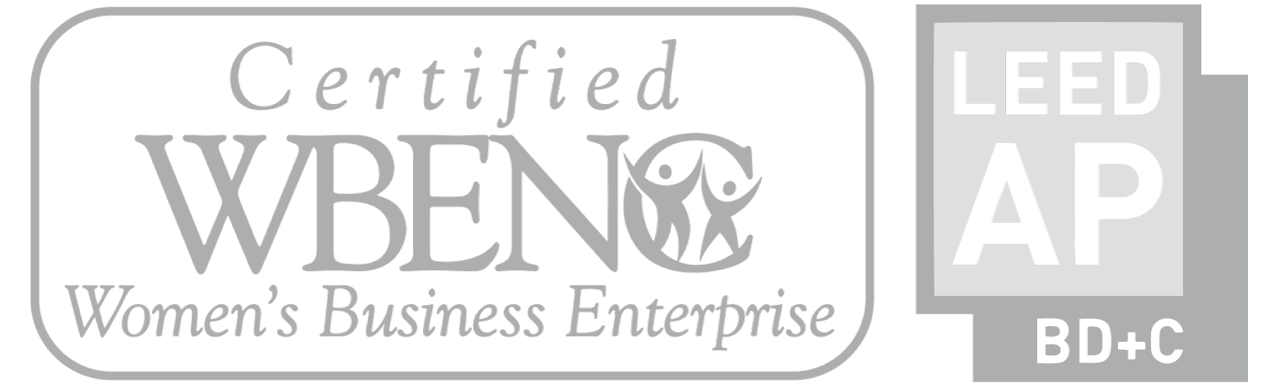 Certified Women's Business Enterprise and LEED AP Certified Logos